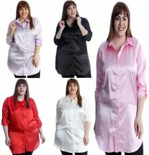 Womens Plain Satin Button Collared Shirt Ladies Plus Size Long Sleeve Casual Top