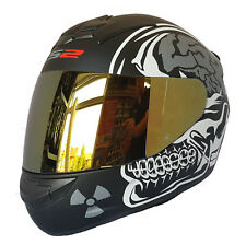 LS2 FF352 X-Ray Rookie Integrale da Moto Crash Casco con Visiera Iridium Oro