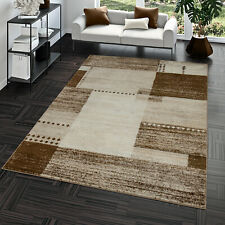 Tapis Moderne Salon Motif Carreaux Tendance Mode Chiné Brun Beige