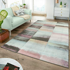 Tapis Moderne Salon Tapis Carreaux Pastel Turquoise Rose Anthracite Multicolore