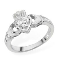 Argento Sterling Rubover Set Zircone Cubico Anello Claddagh