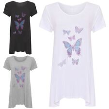 Womens Diamante Butterfly Hanky Hem Top Ladies Short Sleeve Plus Size Shirt