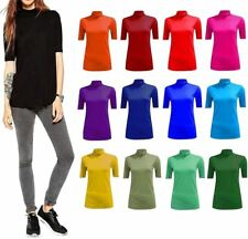 Womens Stretch Plain Polo Neck Top Ladies Short Sleeve Turtle Neck Party Jumper