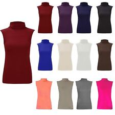 Womens Stretch Polo Neck Top Ladies Plain Sleeveless Turtle Neck Party Jumper