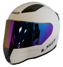 LS2 FF353 Rapid Casco Integrale Moto Bianco + Rainbow Viola Visiera Colorata