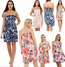 Womens Floral Print Sheering Bandeau Midi Dress Ladies Strapless Summer Dress