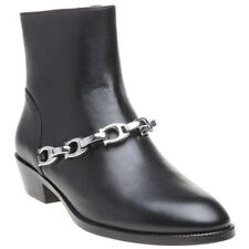 New Womens Coach Black Allen Leather Boots Ankle Zip