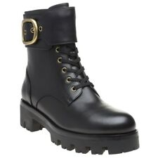 New Womens Coach Black Lucy Leather Boots Ankle Buckle Zip