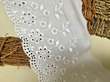 """*New* Beautiful 4""""/10cm White Cotton Flat Broderie Anglaise Lace Trim. Sewing"""