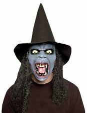 Adults Latex Witch Mask With Hat And Wig Unisex Fancy Halloween Party Accessory