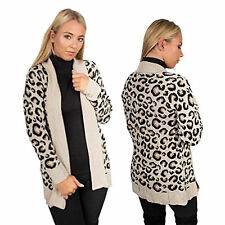New Womens Ladies Leopard Print Cable Knitted Cardigan open Sweater top Size UK