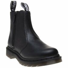 New Womens Dr. Martens Black Aunt Sally Leather Boots Ankle Pull On Zip