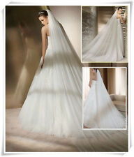 New White/Ivory Long 2 Layers 3M Cathedral Bridal Wedding Veil +Comb Quality