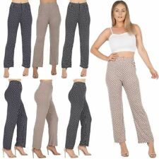 Womens Polka Dot Wide Leg Palazzo Ladies Full Length Elasticated Casual Trouser