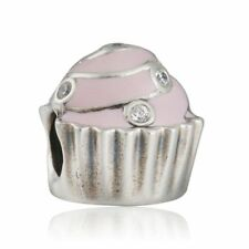 Genuine Silver Charm 925 plata de ley Sweet Cupcake Charms Beads Fit Snake Chain