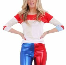 Womens Halloween White Red Blue T Shirt Ladies Fancy Dress Party Wear Top Tees