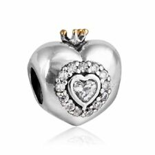 Nuevo Genuine Silver Charm 925 plata de ley Princess Crown Hearts Clear CZ beads