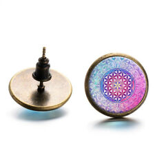 1 Pair Women Fashion Jewelry Mandala Flower Buddhism Glass Ear Studs Earrings