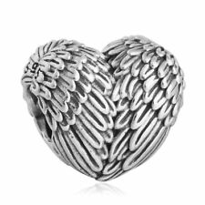 Nuevo Genuine Silver Charm 925 plata de ley Angel Wings Feather Heart charm