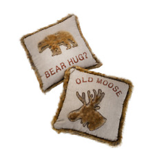 OLD MOOSE | BEAR HUG | 45cm Cushion with Faux Fur Trim and Moose Detail 4219