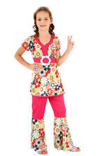 CHILDS GIRLS 60s GROOVY PSYCHEDELIC HIPPIE DIVA COSTUME 1960s FANCY DRESS