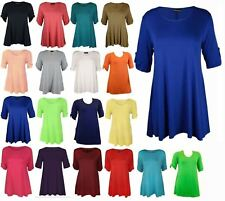 Women Button Short Sleeve Plain Swing Flared Top Ladies Scoop Neck Party Top