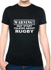 Warning May Talk About Rugby Six Nations Funny Ladies T-Shirt