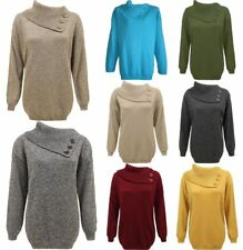 Ladies 3 Button Knitted Long Sleeve Jumper Womens Plain Polo Neck Sweater Top