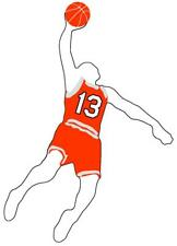 Basketball Boy Slam Dunk Vinyl Window Decal Choose Jersey Number 75-99 and Color