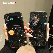 Glossy Space Planet Stars Phone Case For iPhone X Luxury Glass Hard Back Cover F