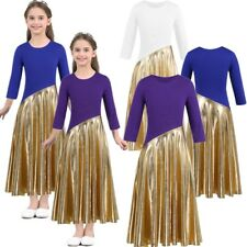 Girls Praise Ballet Dance Dress Kids Gymnastics Leotard Tutu Dancewear Costume