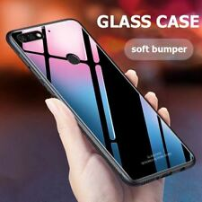 For Huawei Y7 Pro 2018 Case Luxury Tempered Glass Cover Hybrid Shockproof Hard P