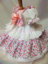 DREAM 0-18 BABY GIRLS PINK DITSY FLORAL TRADITIONAL LINED NET DRESS REBORN DOLLS