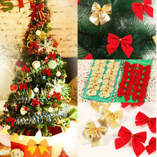 New Christmas Tree Bow Decoration Baubles XMAS Party Garden Bows Ornament 12pack