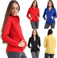 Womens Long Sleeve Skin Fit Zip Up Fleece Top Mens Fancy Front Pocket Sweatshirt
