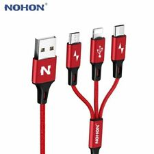 Micro USB Cable Type-C 8pin 3 2 in 1 For iPhone 7 6 6S Plus iOS 10 9 8 Android X