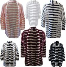 Womens Open Front Chunky Knitted Striped Cardigan Ladies Fancy Long Sleeve Top