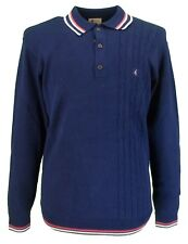 Gabicci Vintage Navy Side Weave Knitted Polo