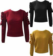 Womens Fishnet Frilled CutOut Sleeve Jumper Ladies Fancy Casual Wear Sweater Top