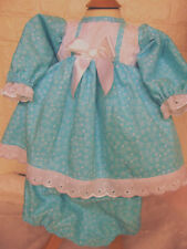 DREAM 0-3 YEARS BABY SPANISH TURQUOISE WHITE   DRESS KNICKERS OR REBORN DOLLS