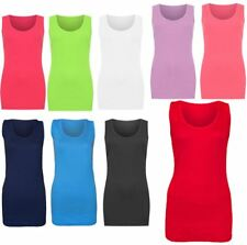 Ladies Scoop Neck Plain Ribbed Muscle Vest Womens Sleeveless Sports Wear Top