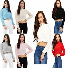 Womens Knitted Ruffle Frill Round Neck Crop Jumper Ladies Long Sleeve Winter Top