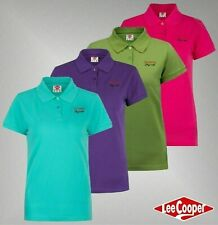 Ladies Branded Lee Cooper Cotton Short Sleeves Top Classic Polo Shirt Size 8-16