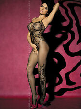 Obsessive Bodystocking ouvert schwarzes Nylon Netz Muster sexy Catsuit Body F205
