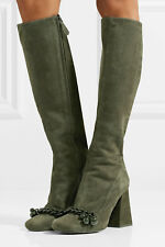 5d707dbc0b9 New TORY BURCH Addison 95 mm Chain Trimmed Suede Knee Boots Boxwood Green 9