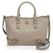 f6fe3b2a88d9 NEW Tory Burch Robinson Multi Tote Gray Taupe Leather Shoulder Bag Handbag