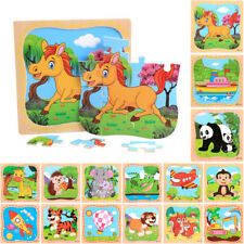 Cartoon Animal Boys Puzzle Montessori Wooden Learning Geometry Educational Toy