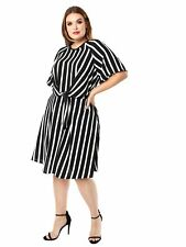 Lovedrobe GB Women's Plus Size Knot Front Black and White Stripe Dress