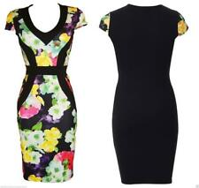 BLACK WIGGLE BODYCON DRESS ROCKABILLY PENCIL FLORAL INSERT Sizes 8 to 14 VINTAGE