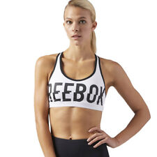 Reebok Womens Hero Racer Padded Sports Support Bra Top White Gym Breathable